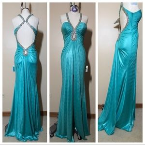 NWT aqua beaded dress from peaches boutique